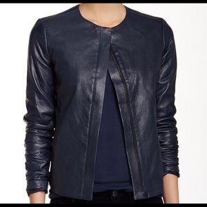 NEW VINCE PERFORATED LEATHER JACKET IN BLUE. SZ.M